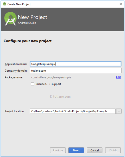 Create a New Android Google Maps API Project in Android Studio