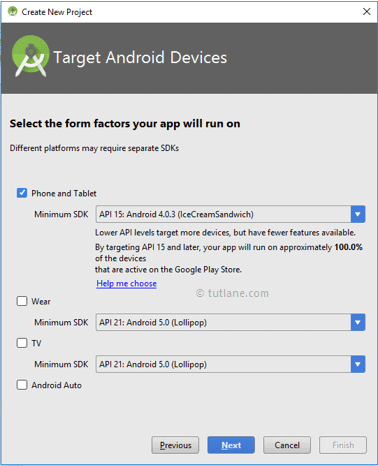 Android Project select targetted devices phones and tables