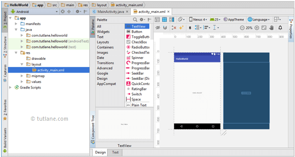 Android Hello World App - Activity Layout XML File