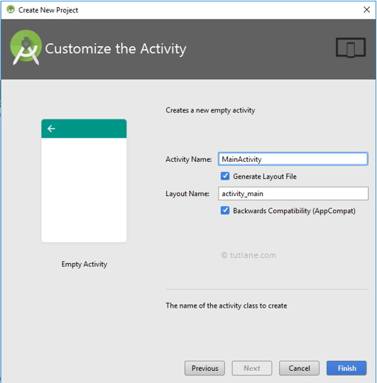 Android Hello World App - Customize Selected Activity to Create New Project