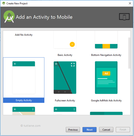 Android Hello World App - Select Empty Activity to Create New Project