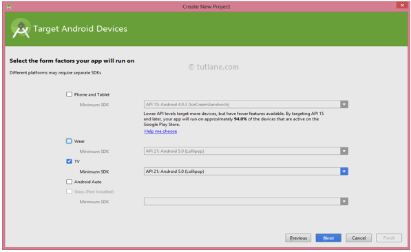 Android Studio Hello World App - Select TV Target Android Device to Create New Project