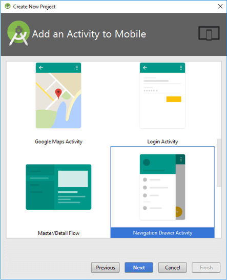Android Select Navigation Drawer Activity to Create Navigation Drawer App