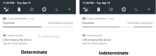 Android Progress Notification in Determinate and Indeterminate Modes