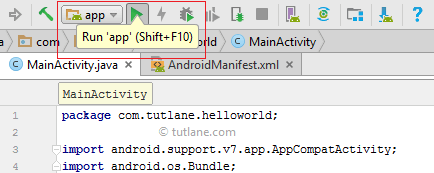 Android Hello World App - Run App using Shift + F10