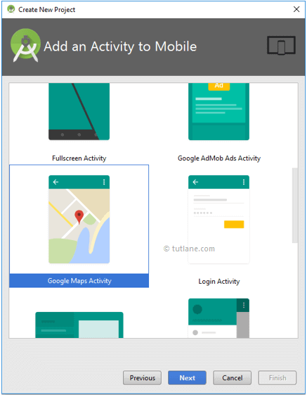 Select Google Maps Activity to Create Android Project
