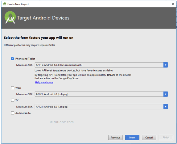 Android Hello World App - Select Target Devices to Create New Project