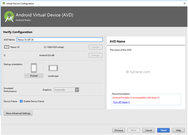 Android Setup Emulator - Select Virtual Device Configuration Details