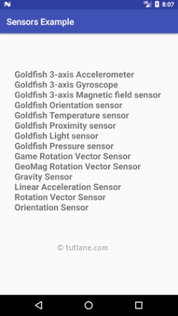 Android Sensors Example Result