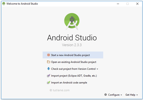 Android Hello World App - Open Android Studio to Create New Project