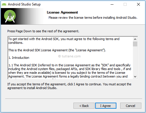 Android Studio Installation - Accept License Agreement Terms