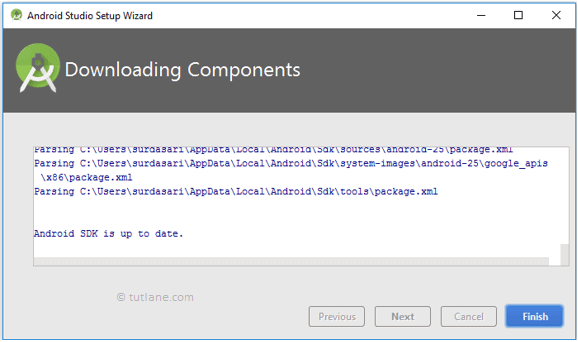 Android Studio After Downloading Components