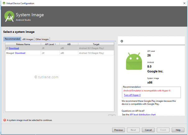 Android Setup Emulator - Select System Image to Install AVD
