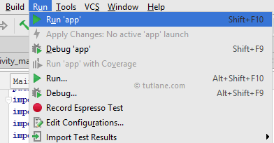 Run app in android studio using Run App Option