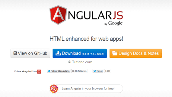 Angularjs Page which contains installation or environment setup details