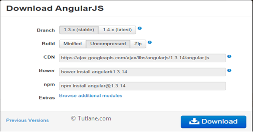 Download Angularjs from site and use it in application