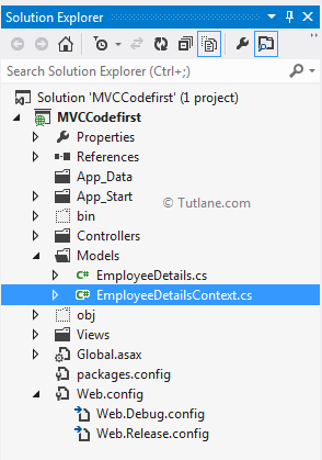 Adding dbcontext file in asp.net mvc application