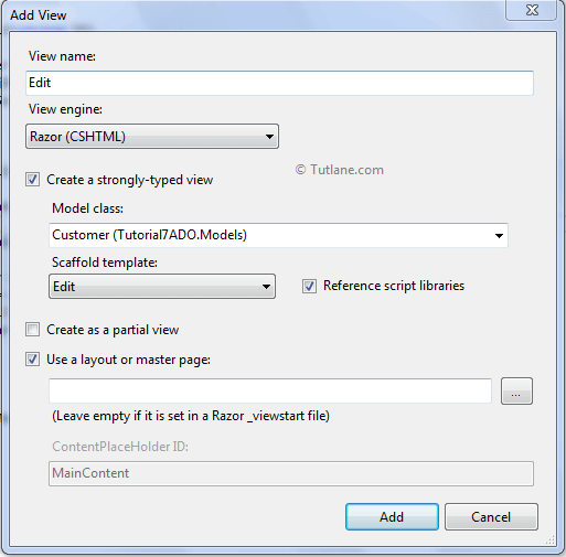 Add view to edit user details in ado.net asp.net mvc applicaiton