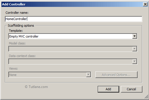 Give name to controller and select template as empty mvc controller in asp.net mvc application