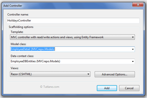 Scaffolding in Asp Net MVC 4 with Crud Operations Example - Tutlane