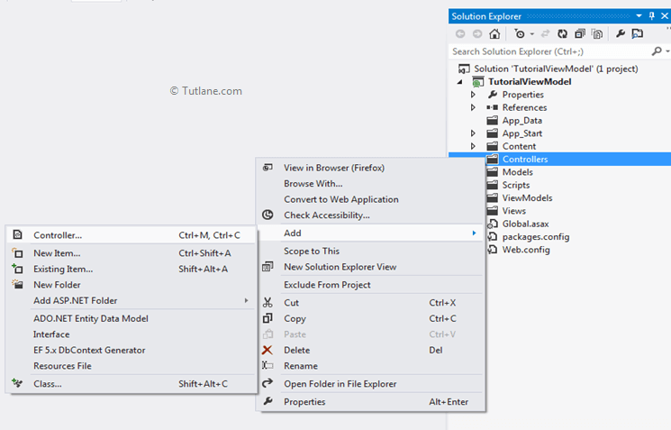add new controller in asp.net mvc application
