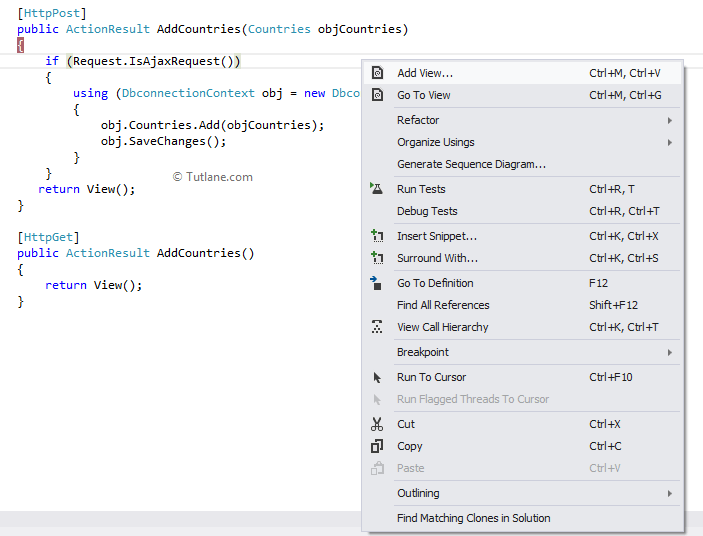 Add new view in asp.net mvc for controller method in ajax helpers method