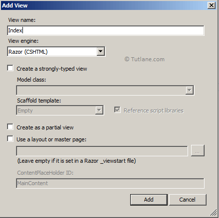 Add New View to Index Action Method in Controller in Asp.net MVC Application