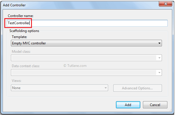 Give name for controller and select scaffolding option and click ok