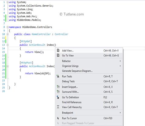 Create or Use Hidden Fields in Asp Net MVC with HTML Helpers
