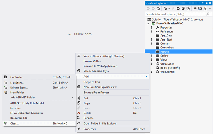 Add new model in fluent validations asp.net mvc application