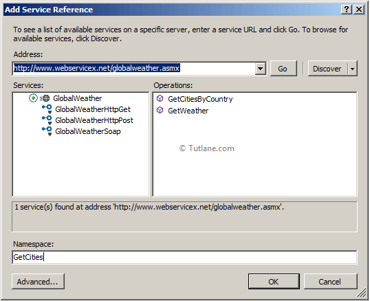 adding weather report service reference in asp.net mvc application