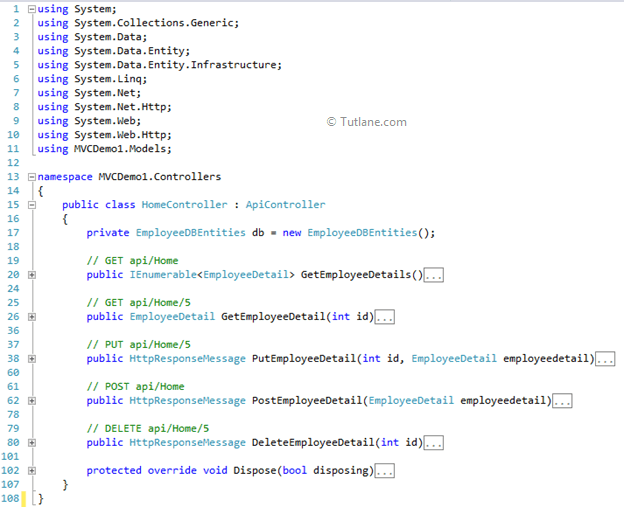Controller after adding API controller with read/write actions and views, using Entity Framework