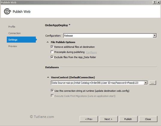 After configuring database connection string in publish web dialog