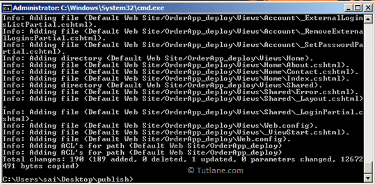 After publish all the files using command prompt process will be like as shown in image