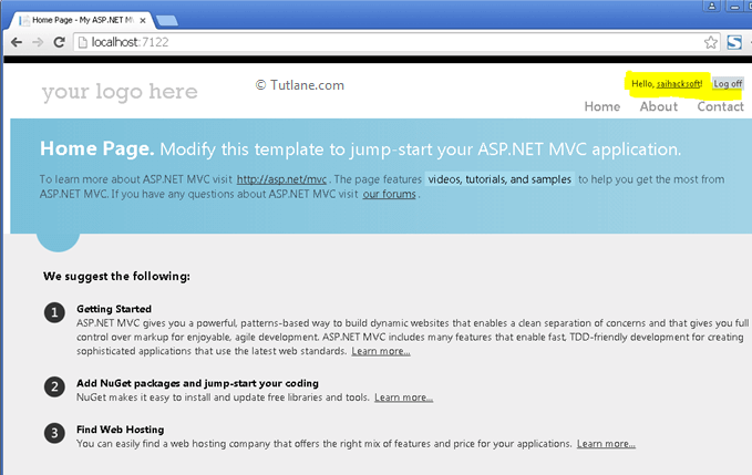 After login into asp.net mvc application with twitter account
