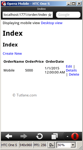 Asp.net mvc index page view in mobile view