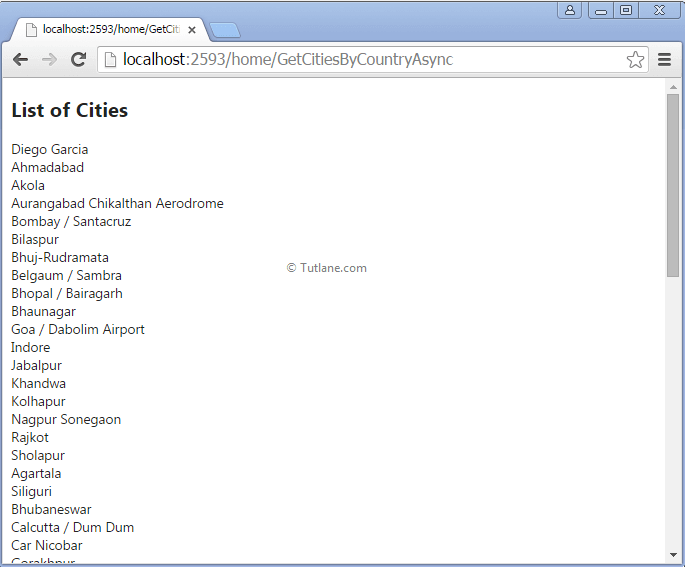 Showing cities using asynchronous method in asp.net mvc application