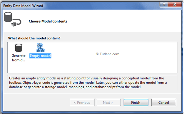 select empty model from entity data model wizard in asp.net mvc application