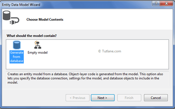 Choose Model Content for Ado.net model in database first approach
