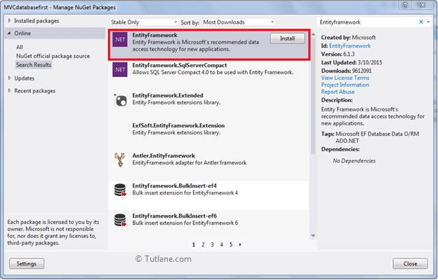 Installing Entity Framework in Asp.net mvc application