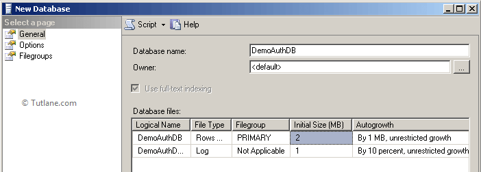 create new database in sql server for asp.net mvc authentication example