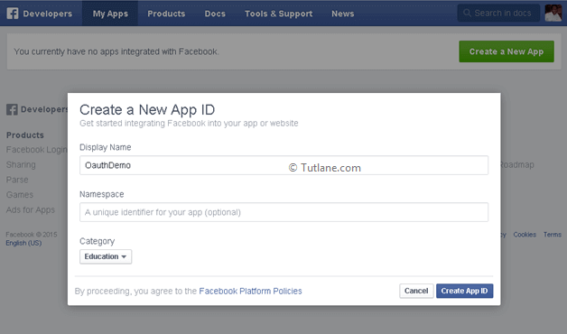 Give details required to create new app in facebook