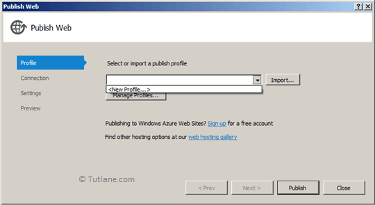 Select New Profile from from Select or Import a Publish