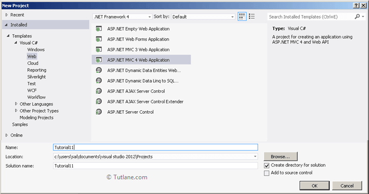 select asp.net mvc 4 web application and click ok to create new mvc application