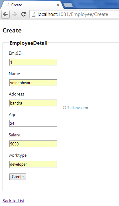 Create employee details in asp.net mvc application