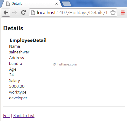 Scaffolding user details page in asp.net mvc application