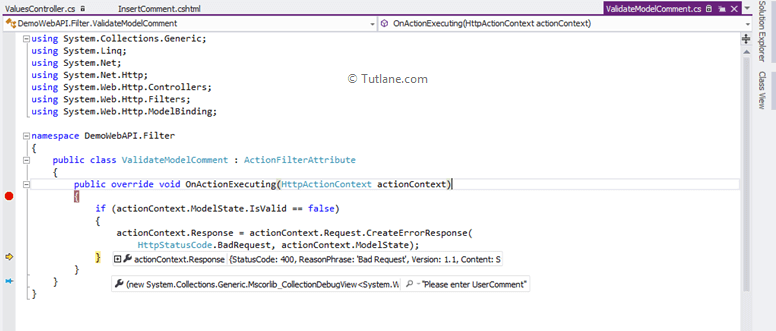 Debug model of action filter in asp.net mvc web api application