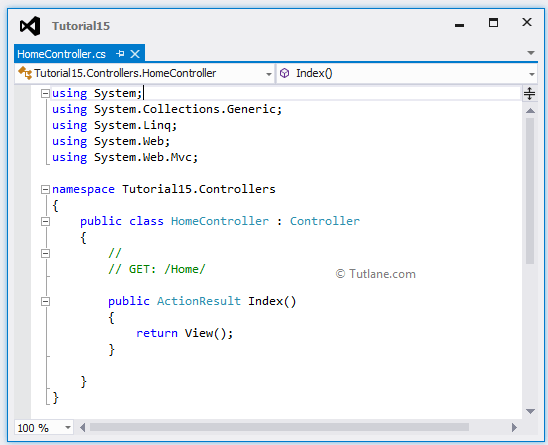 Controller with default code in asp.net mvc application