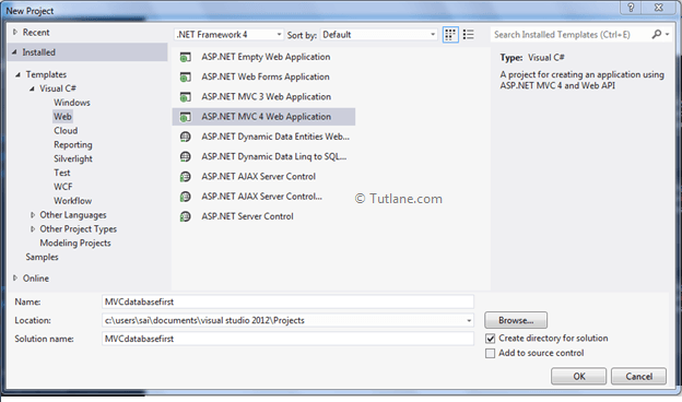 Database First Approach Entity Framework Application Creation in Asp.Net MVC
