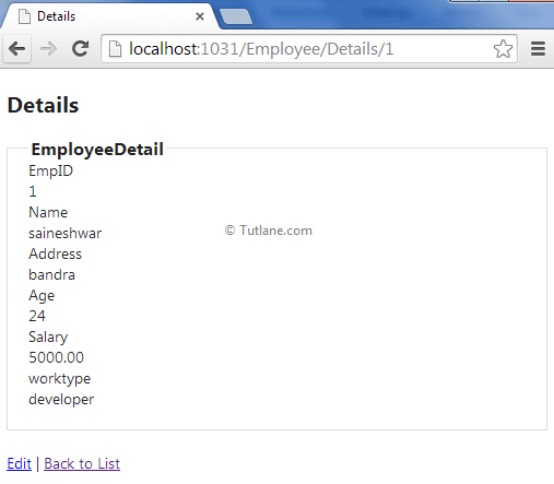 Employee Details in ado.net entity framework in asp.net mvc applicaiton